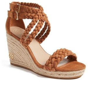 NWB 🏷 TORY BURCH Brown Cuoio Ankle-Strap Wedge